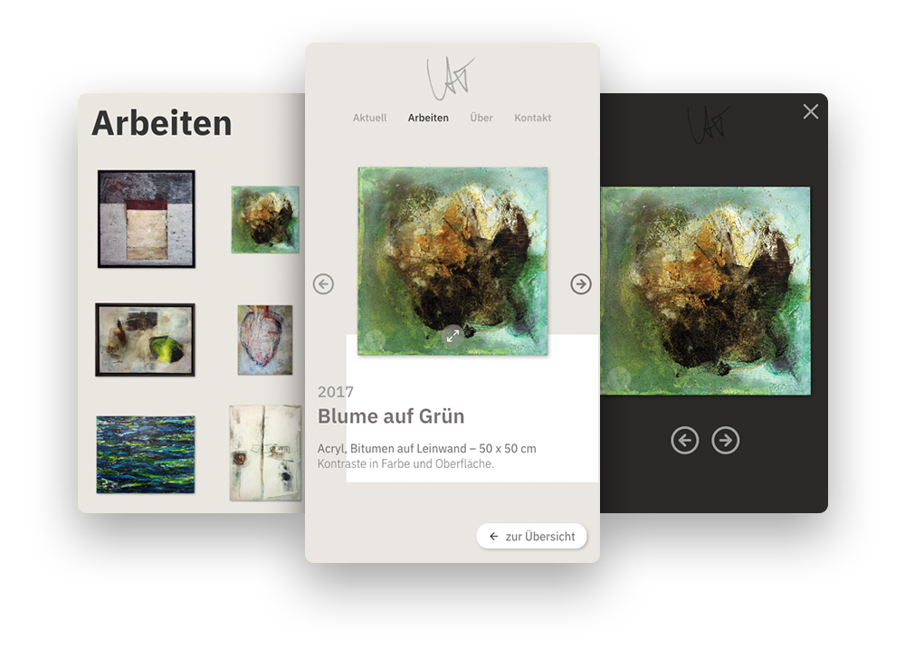 Homepage von Astrid Trost: mobile Screens